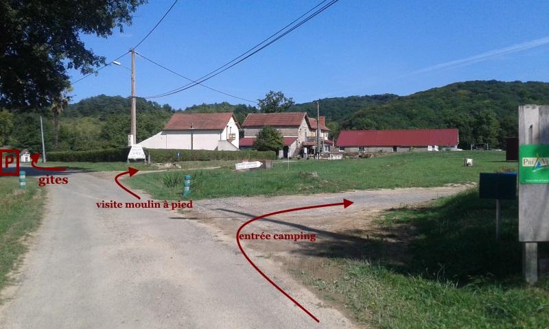 plan d'entrées sur la propriété du moulin